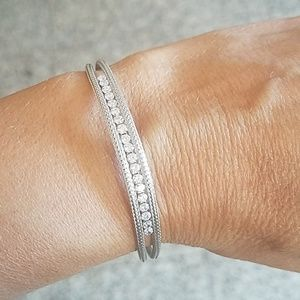Jewelry - 14k white Gold plated CZ Bracelet 8 inches